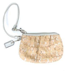 Coach Wristlet Small Handbag Wallet Shimmer Metall